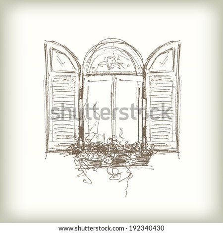 vintage window drawing. scribble vector window. drawn pencil sketch style window with shutters vintage drawing