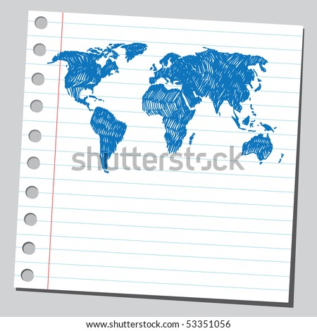 Scribble world map - stock vector