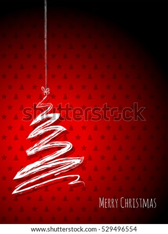 Scribbled christmas tree on a red background with stars and trees