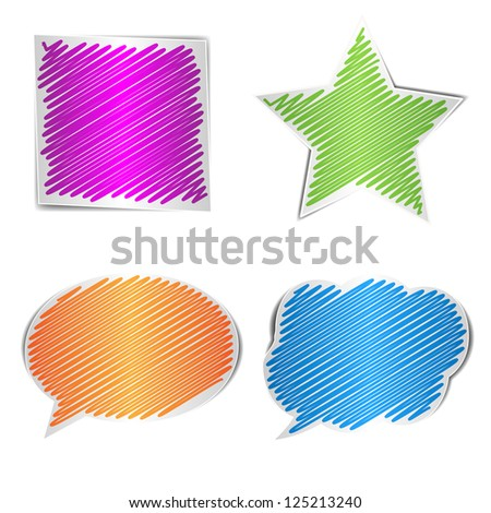 Scribbled collection of shape, vector illustration - stock vector