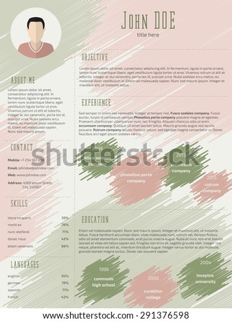 Scribbled curriculum vitae cv resume template design with photo - stock vector