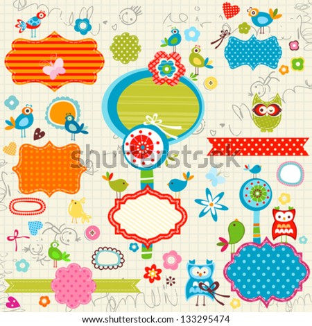 scribbled notebook page, birds, labels, flowers - stock vector