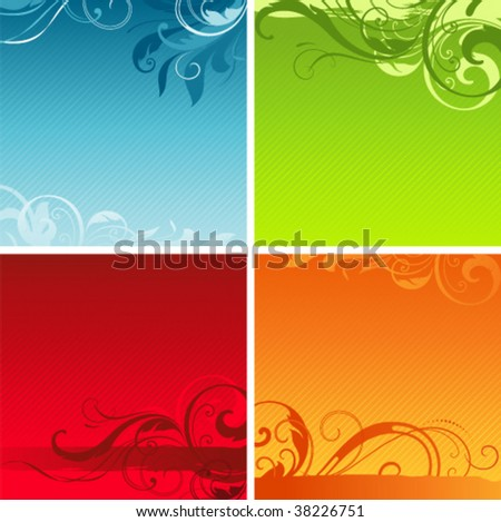 Scroll floral backgrounds with copy space in seasonal colouring. Elements can be ungrouped for easy editing. - stock vector