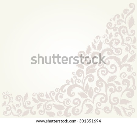 Scroll leaves border, sketchy style design element - stock vector
