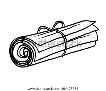 scroll of document papers with rope / cartoon vector and illustration, black and white, hand drawn, sketch style, isolated on white background. - stock vector
