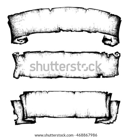 Scroll Paper Banner Old Style Hand Stock Vector 468867986 ...