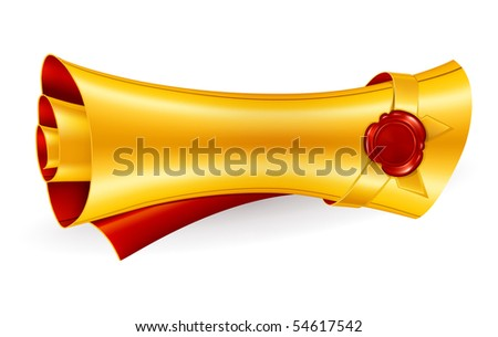 Scroll with the seal, vector - stock vector