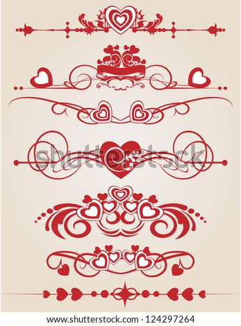 Scrolls and heart for your design. Valentine's Day. - stock vector