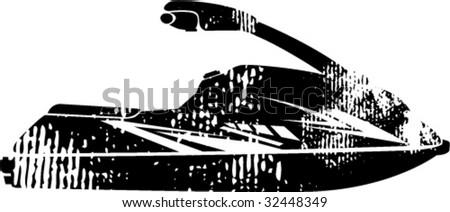 Scrubbed Grunge Small Sporty Jet Ski Illustration - stock vector