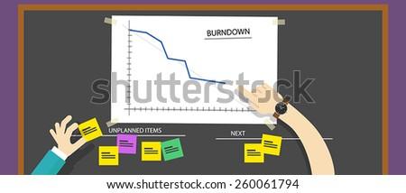 scrum agile burn down chart - stock vector