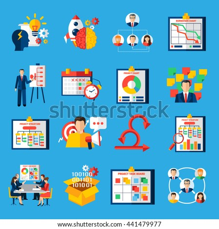 Scrum agile development framework methodology symbols  for managing complex projects flat icons collection abstract isolated vector illustratin - stock vector