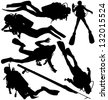 Scuba diver and speargun vector silhouettes. Layered and fully editable - stock