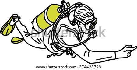 Scuba Diver Illustration.