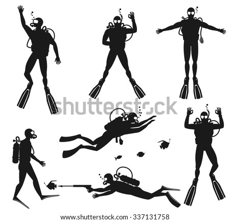 Scuba diver silhouettes. Diving silhouettes on white background.  Speargun and water sport, people diving sea. Vector illustration - stock vector