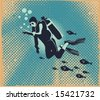Scuba diver underwater,vector illustration - stock vector