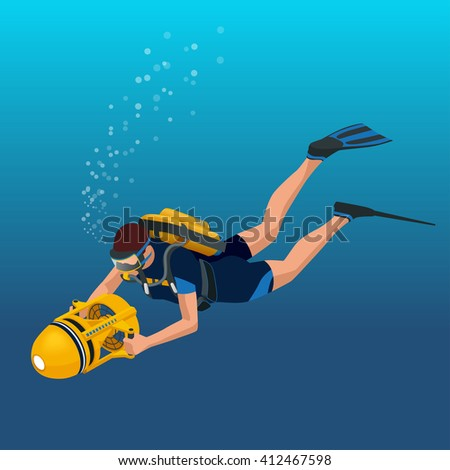 Scuba diverflat isometric illustration Underwater people diver isolated and scuba diver isolated extreme diving sport. Water sport activity vacation leisure. - stock vector