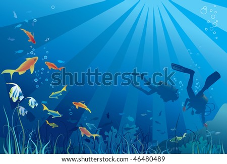 Scuba divers, sea  life. Fish, seaweeds, bubbles. Copy space for text. Vector illustration - stock vector