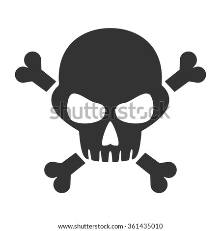 Scull and bones isolated icon, sign, illustration, silhouette, vector // Black & White - stock vector