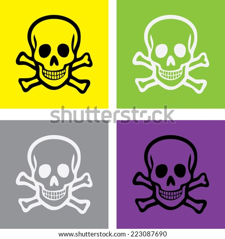 scull and bones isolated icons, signs, illustrations, silhouettes set, vector on background for web and mobile  - stock vector