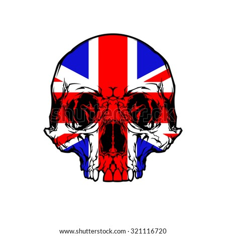 Scull and Flag Great Britain - stock vector