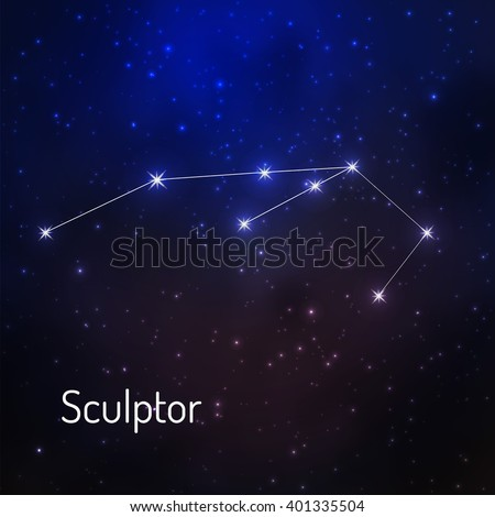 Sculptor constellation in the night starry sky. Vector illustration