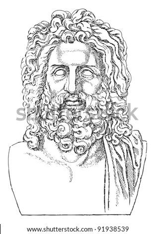 Sculpture head of Zeus - greek sculpture / vintage illustration from Meyers Konversations-Lexikon 1897 - stock vector