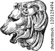 sculpture of a lion's head - stock vector
