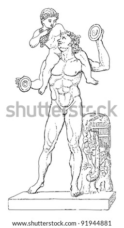 Sculpture of faun with Bacchus child - greek - roman sculpture / vintage illustration from Meyers Konversations-Lexikon 1897 - stock vector