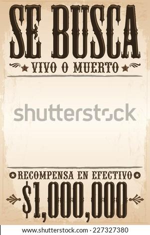 Se Busca Vivo O Muerto Wanted Stock Vector 227327380 - Shutterstock