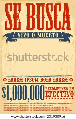 Se busca vivo o muerto wanted stock vector 231930916 for Wanted dead or alive poster template free