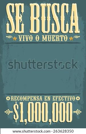 Se Busca Vivo O Muerto Wanted Stock Vector (2018) 263628350 ...