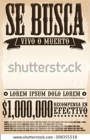 Vector Vintage Wanted Poster Template All Stock Vector 160864253
