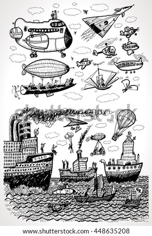 Sea and Air Transport. Vector cartoon set. Jet, ship, hang-glider, raft, helicopter, airplane, aircraft, vessel, submarine, balloon, steamship, airship, boat, plane - stock vector