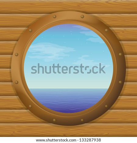 Sea and blue sky in a bronze ship window - porthole on a wooden wall. Eps10, contains transparencies. Vector - stock vector