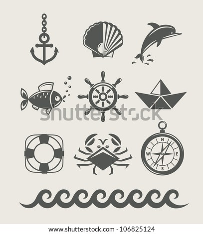 sea and marine symbol set of icon vector illustration isolated - stock vector