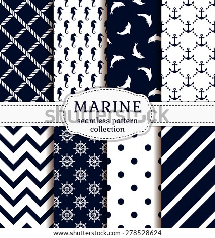 Sea and nautical backgrounds in white and dark blue colors. Sea theme. Seamless patterns collection. Vector set.  - stock vector