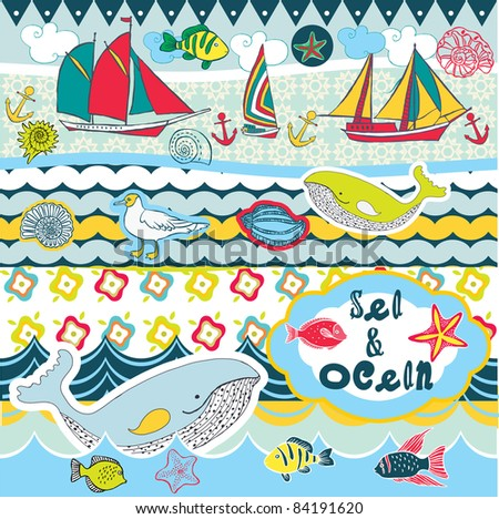 sea and ocean scrapbook - stock vector