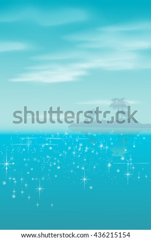 Sea and palm trees on the horizon - stock vector