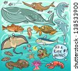 Sea and river animals - part 1. Hand drawn cartoon sea life collection - stock photo