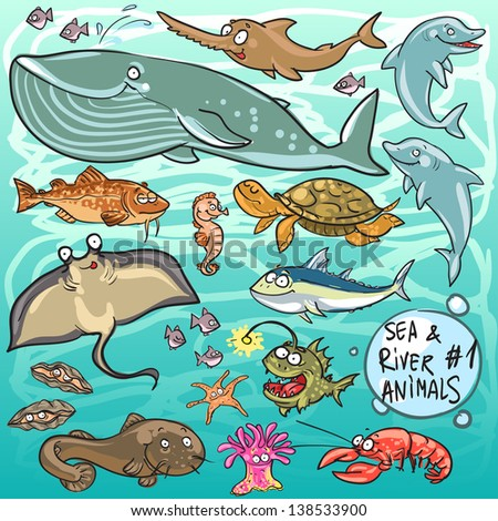 Sea and river animals - part 1. Hand drawn cartoon sea life collection - stock vector