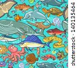 Sea and river animals pattern. Underwater life seamless background. - stock photo