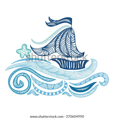 Sea and ship vector illustration
