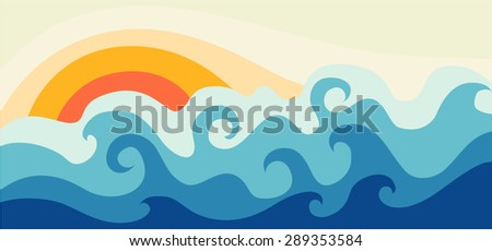 Sea and sun - stock vector
