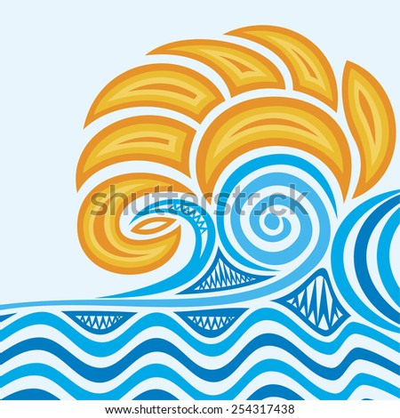 Sea and sun abstract pattern vector illustration - stock vector