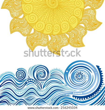 Sea and sun nature pattern abstract background vector illustration - stock vector