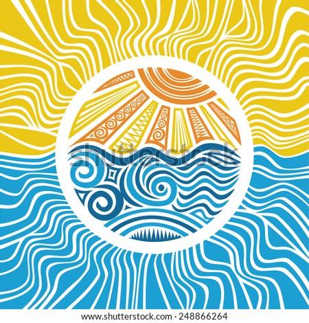 Sea and sun vector illustration - stock vector