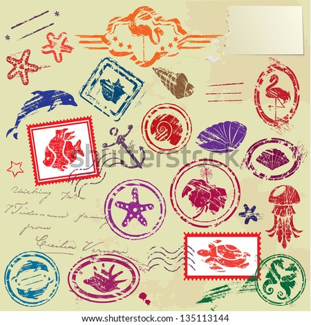 Sea and tropical elements - rubber stamps collection - stock vector