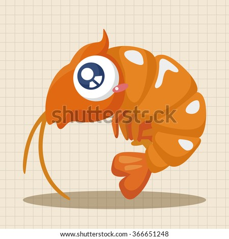 sea animal shrimp cartoon theme elements - stock vector