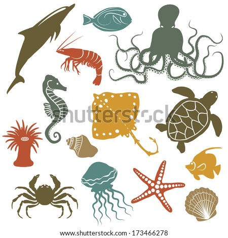sea animals and fish icons - vector illustration - stock vector