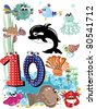Sea animals and numbers series for kids, from 0 to 10 -,10 - stock vector
